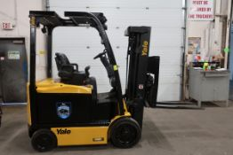 FREE CUSTOMS - 2014 Yale 5000lbs Capacity Forklift with 3-stage mast & fork positioner - electric