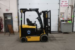 FREE CUSTOMS - 2012 Yale 5000lbs Capacity Forklift with 3-stage mast - electric with sideshift and