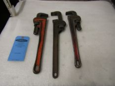 Lot of 3 Pipe Wrenches