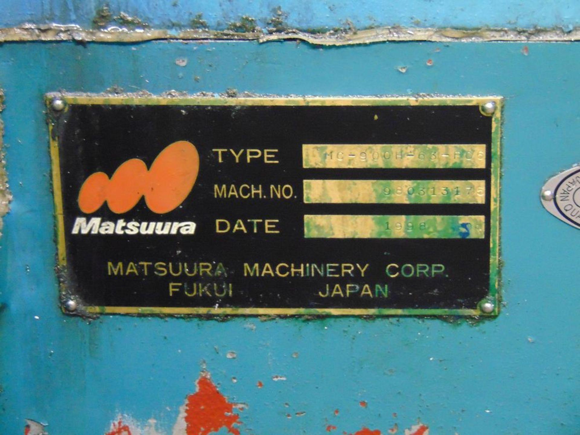 (1998) Matsuura mod. MC900 H-63-PC6, 4-Axis CNC Horizontal Machine Center w/ Fanuc 15M Controls, 6- - Image 5 of 5