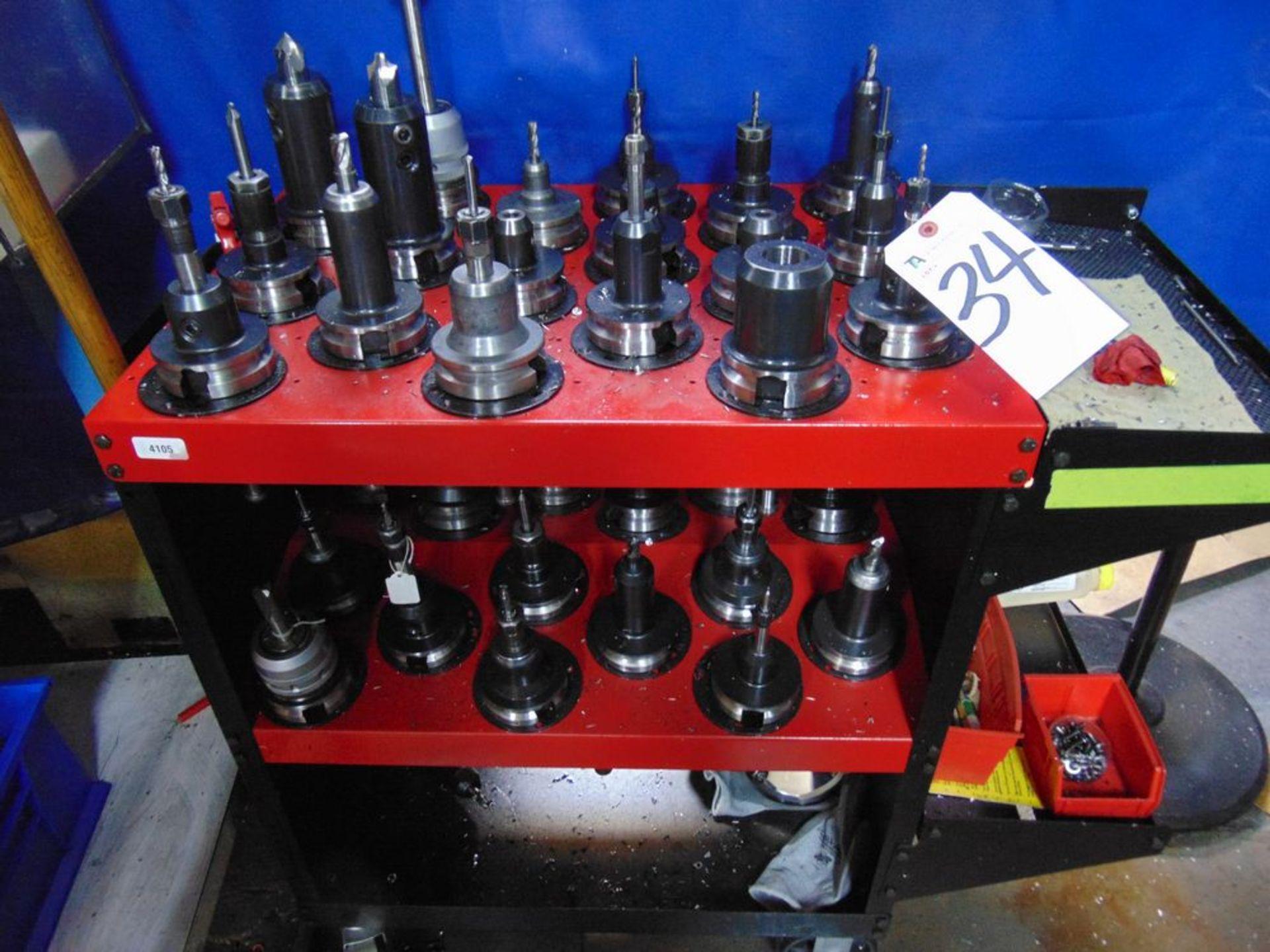 Lot 34 - Tecnara & Others, 50 Taper Tool Holders w/ Cart