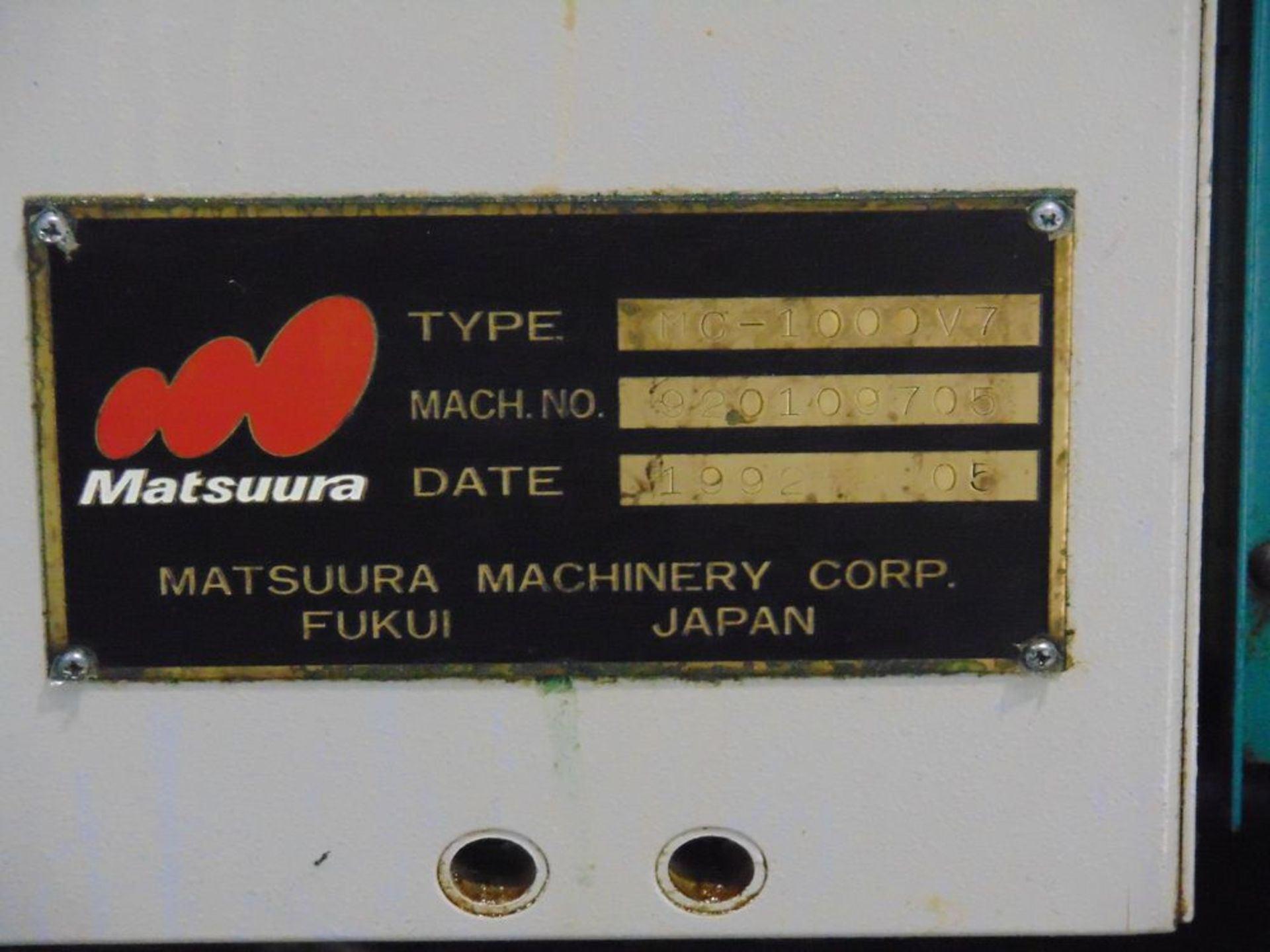 Lot 26 - (1992) Matsuura mod. MC1000V-DC 3-Axis CNC Vertical Machine Center, 3' x 4' Table, Thru Spindle