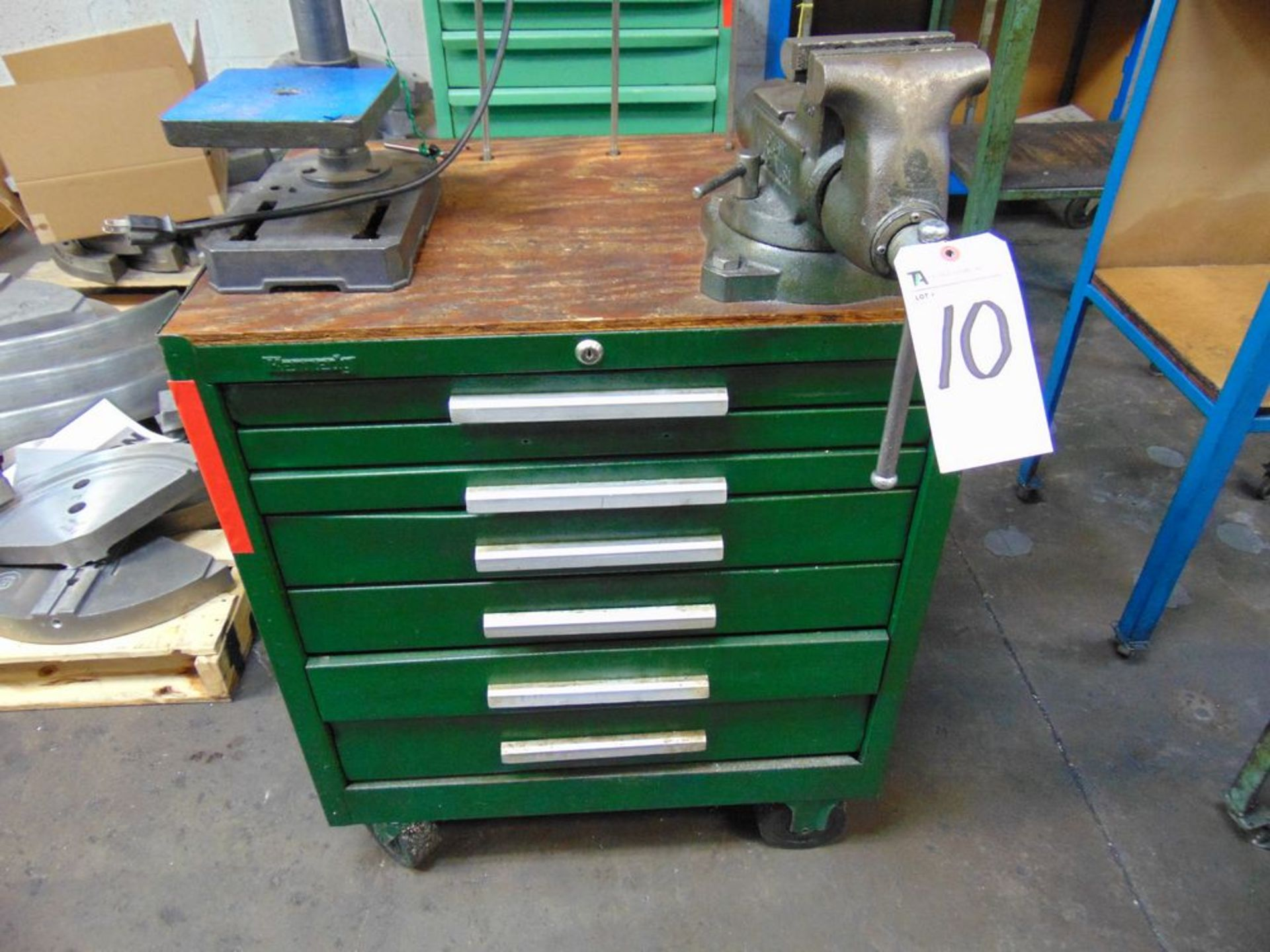Lot 10 - Kennedy 6-Drawer Tool Box w/ Vise & Contents