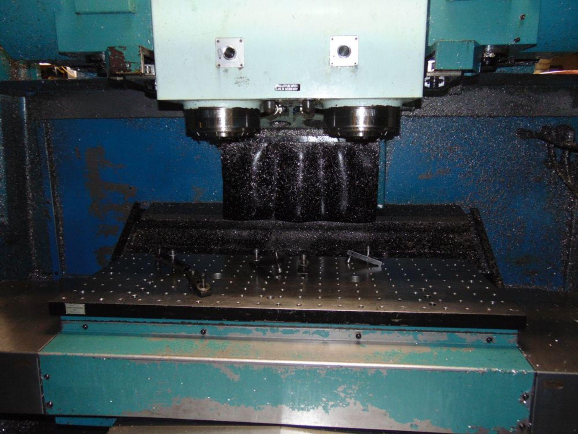 Lot 24 - (1997) Matsuura mod. MC800 VFDC, 4-Axis CNC Twin Spindle Vertical Machine Center, Yasnac Controls,