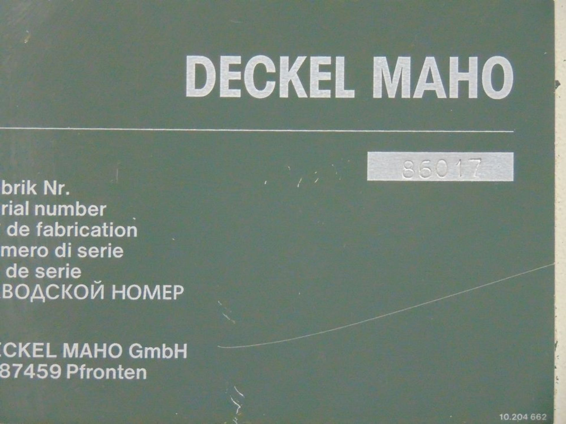 Lot 22 - (1998) Deckel Maho mod. DMU80P, 5-Axis CNC Horizontal Machine Center, Knuckle Joint Head,