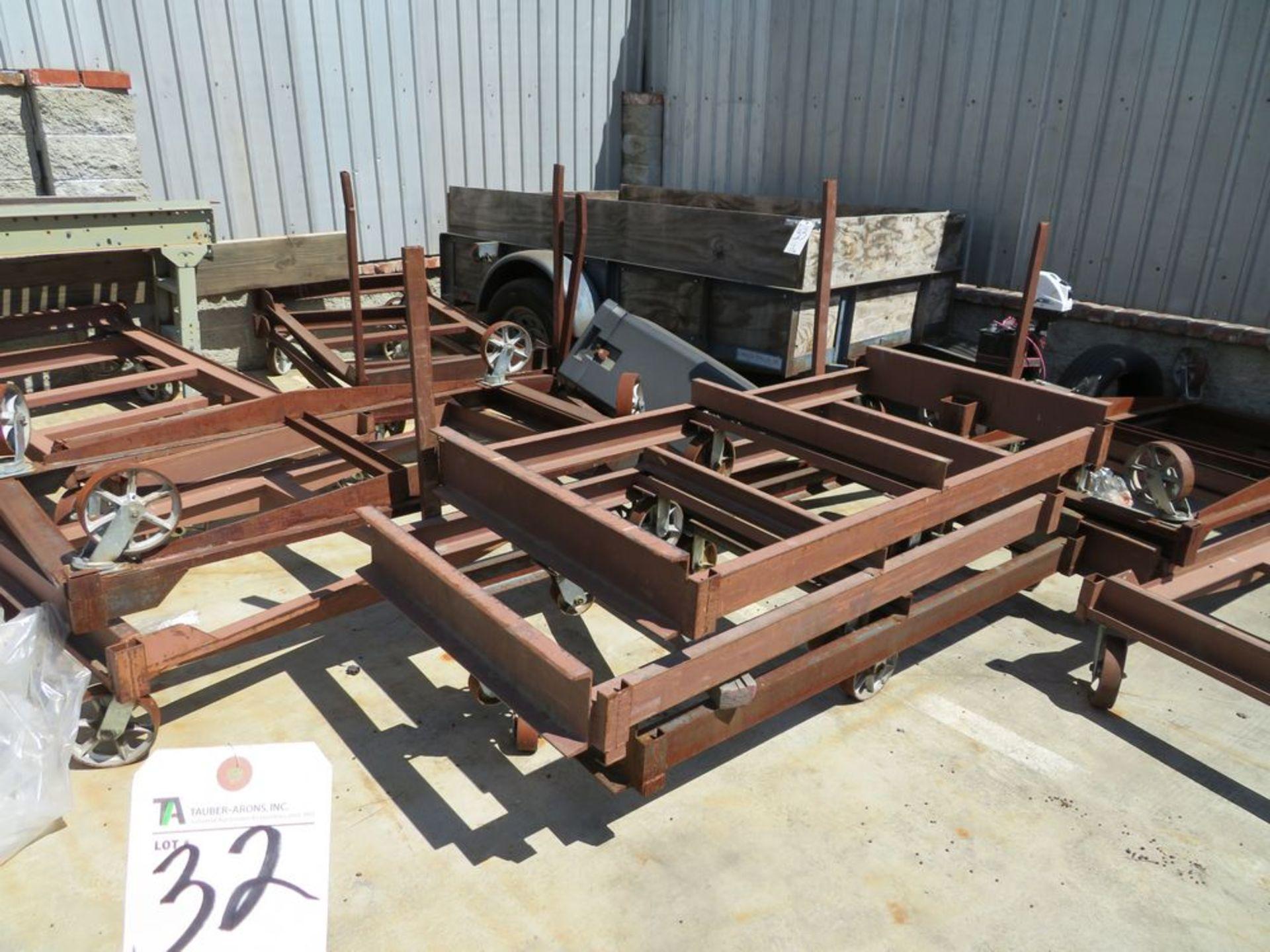 Lot 32 - (Lot) (10) 39''W x 76''L Flat Steel Carts