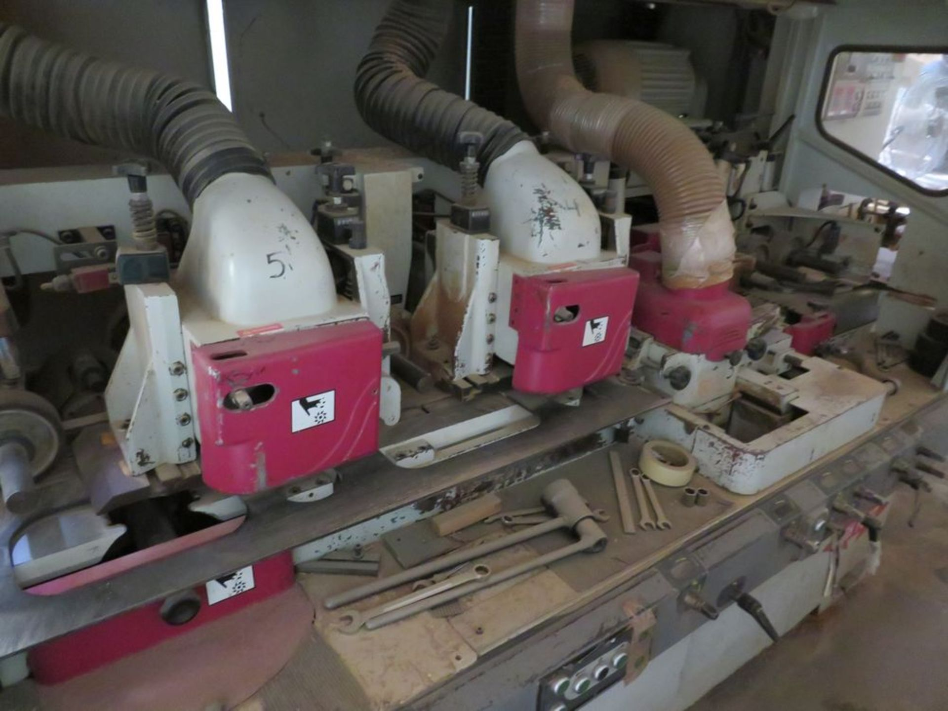 Lot 15 - (2010) Hinoki Moulder, 6-Head Upgraded to 15hp Motor, Semi-Automatic Adjustment to Width & Height