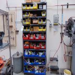 (Lot) Shelf w/ Contents, Hose Clamps, Fitting & Misc. Electrical