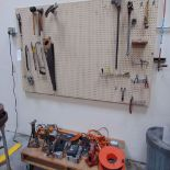 (Lot) Hand Tools on Wall & Cart