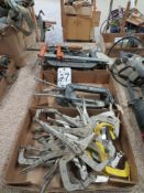 (Lot) (3) Boxes, Assorted Clamps, C-Clamps, Bar Clamps & Grip Clamps