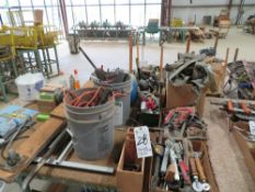 (Lot) Assorted Hand Tools w/ Air Hose & Extension Cords