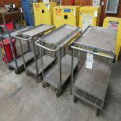 (Lot) (3) S.S. Carts & (1) Steel Cart