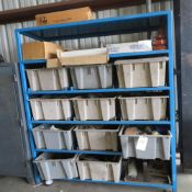 (Lot) Steel Storage Rack w/ Pullout Binds & Contents