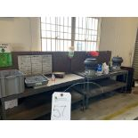 (Lot) (2) steel work tables w/ (2) Vibratory bowls and steel rack
