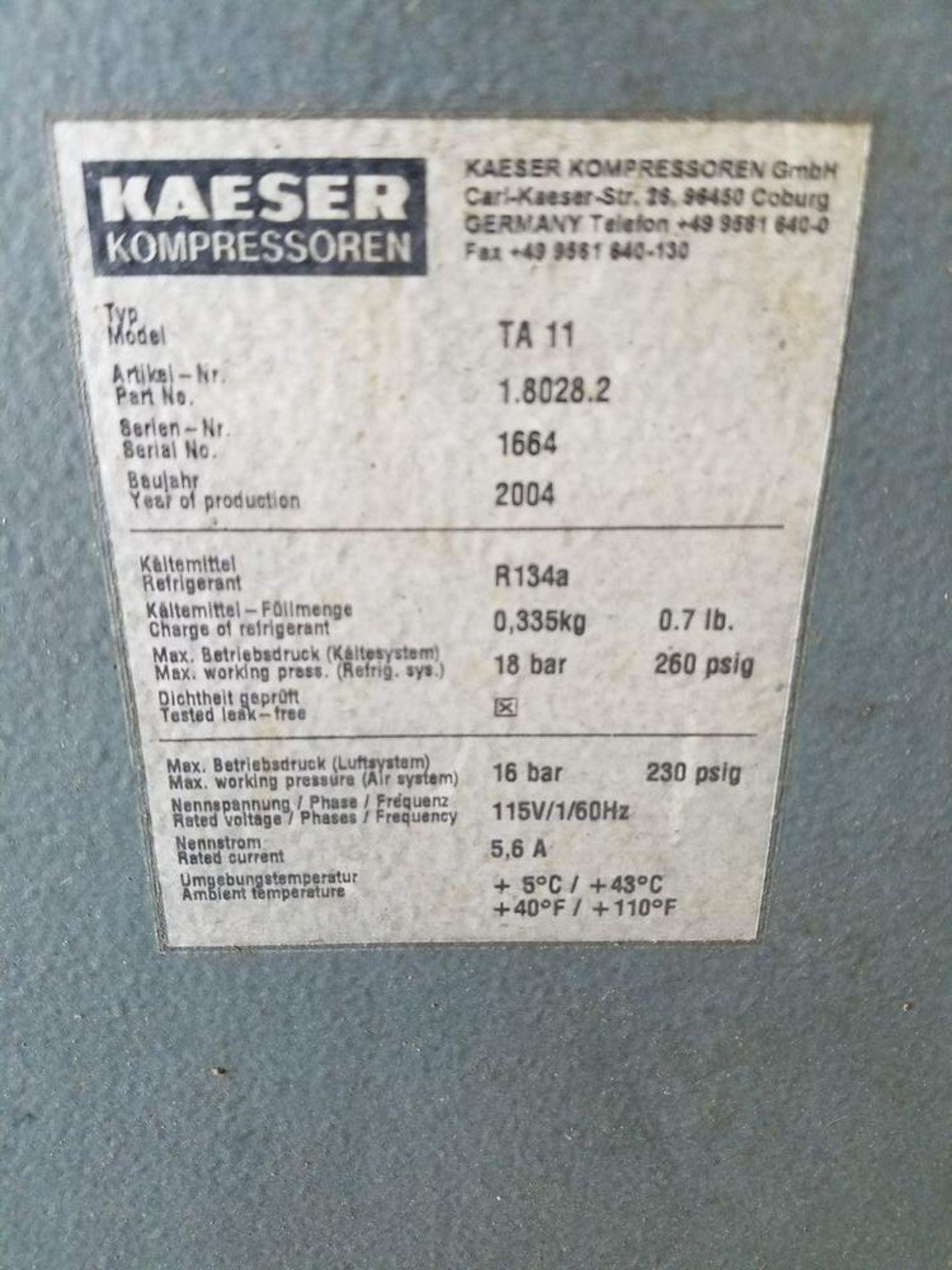 (2005) Kaeser mod. TA-11 and SMII, 10hp Rotary Screen Air Compressor - Image 4 of 4