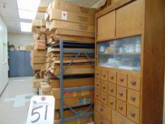 (Lot) (2) Wood Cabinets, (1) Shelf w/ Assorted Size Glassware