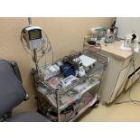 Metal Wire Three Shelf Cart w/ Epox Vet ECG/SP02 Monitor
