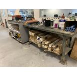 2 Wooden tables with contents