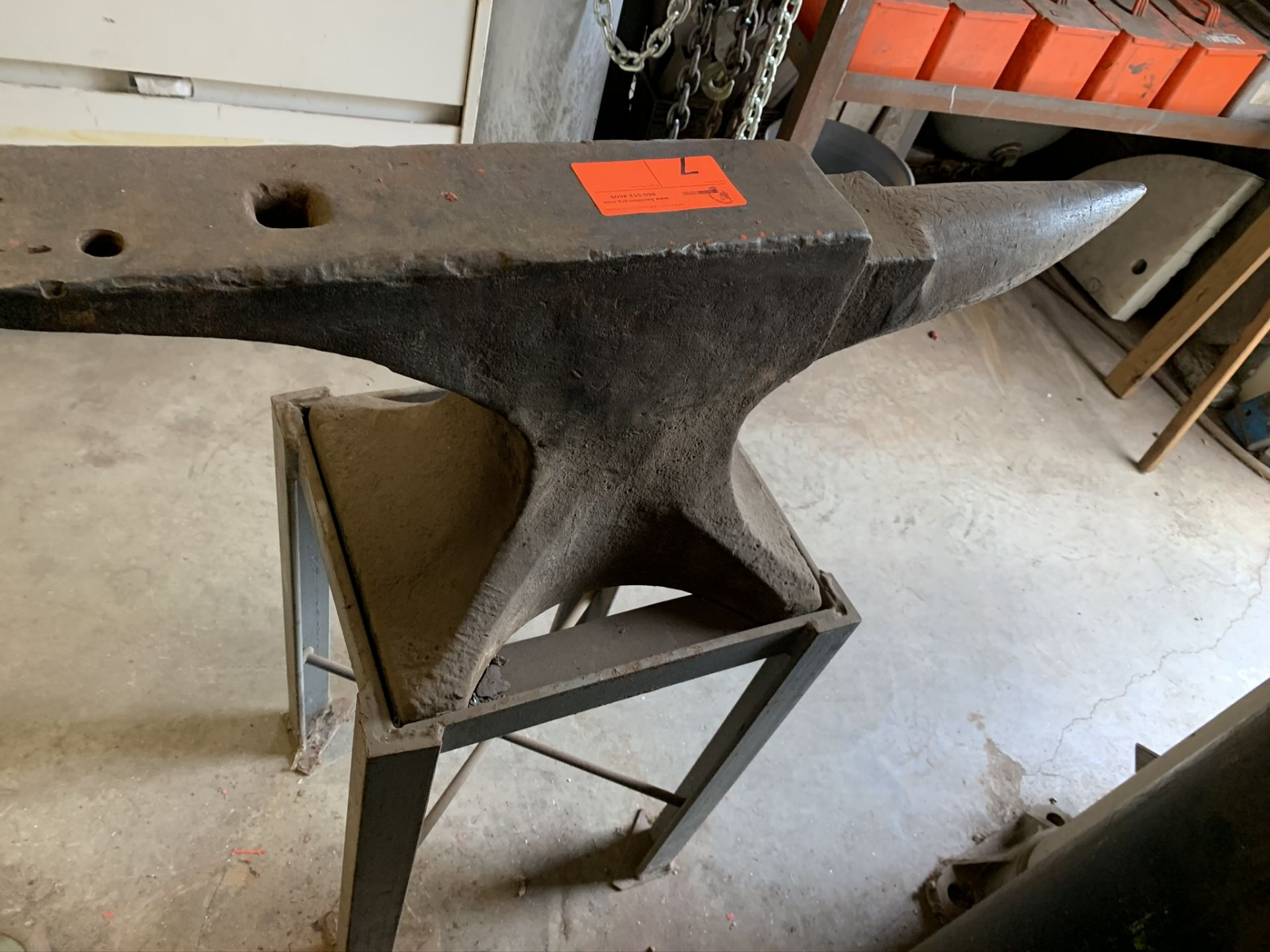 "Lot 7 - Anvil with Stand, 2'8""length x 14&3/4"" tall"