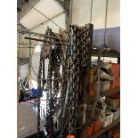 Lot of chains, come-a-long, cafing hoist