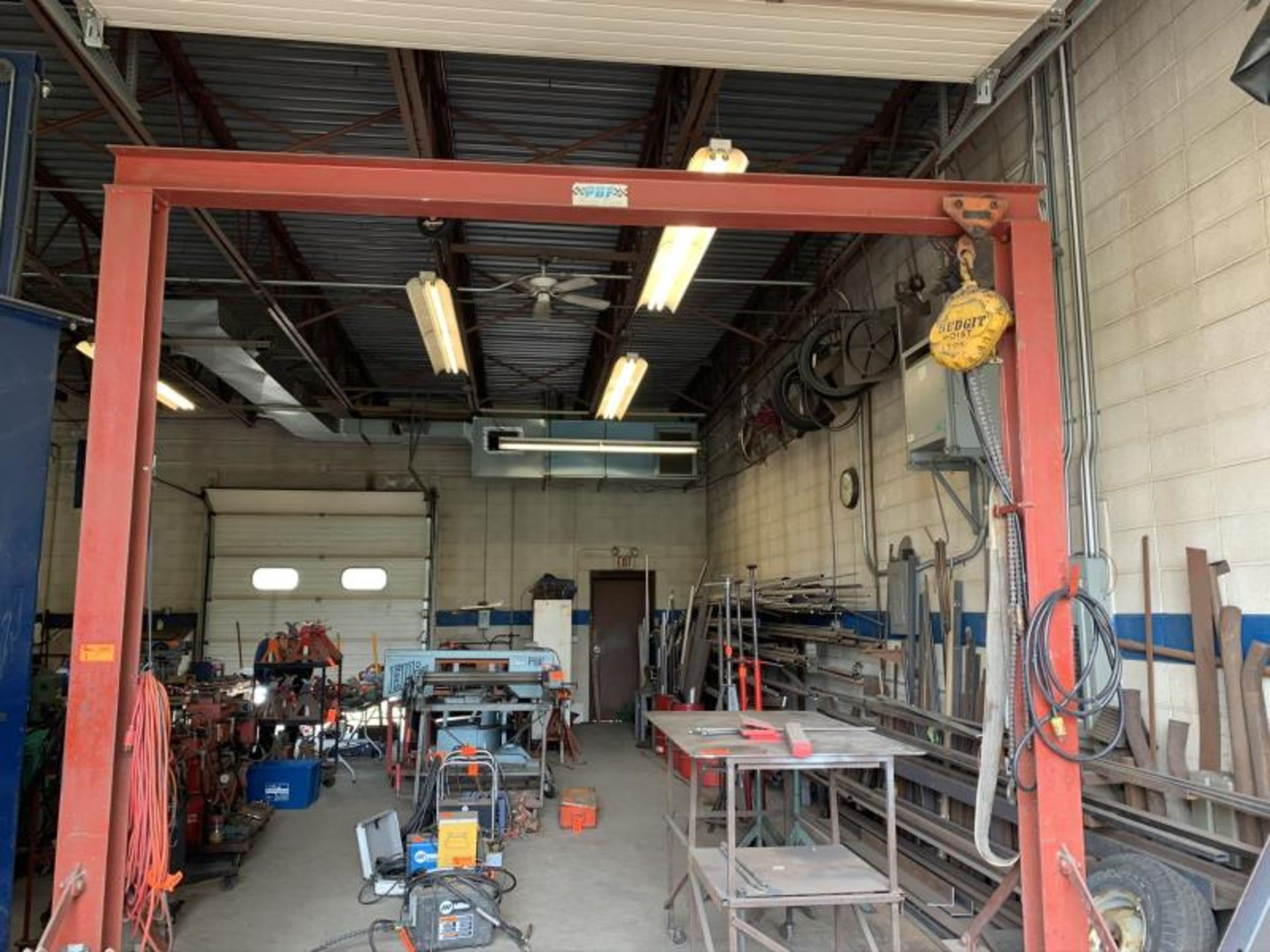 """Lot 1 - Rolling Hoist with Budget 1 ton lift, 10'8"""" height x 10'10"""" wide"""