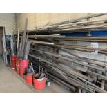 Eight tier cantalever metal stock rack, contents of steel & Alumium inventory with (5) red piles
