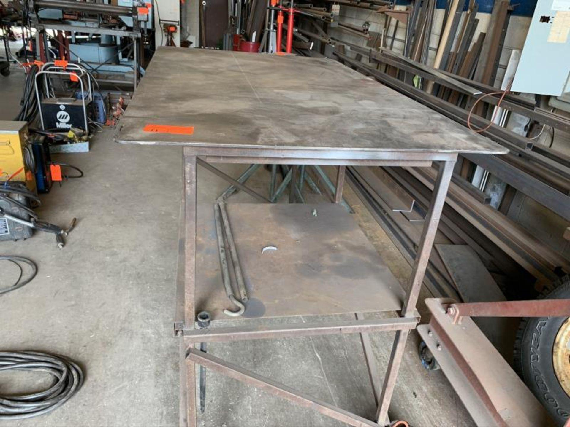 "Lot 11 - Rolling Steel Table: 5'long x 3'wide x 9""tall"