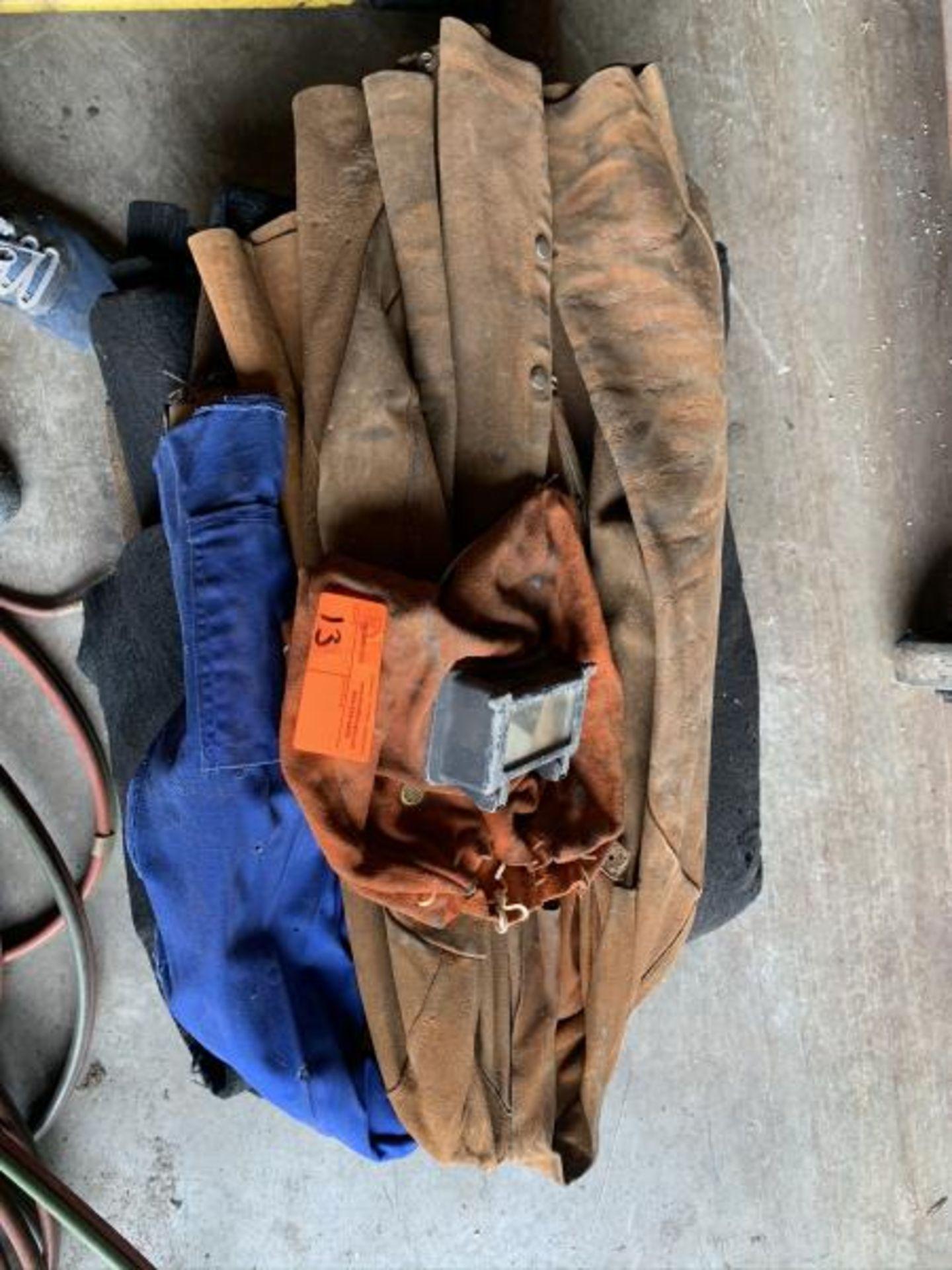 Lot 13 - Leather Welding coat, welding blanket, leather head shield