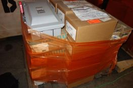 Pallet of 60A Eaton Safety Switches, Siemens 100A Safety Switch, Cutter Hammer 100A Safety Switch