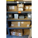 Contents of 4 Shelves - Outdoor Meter Sockets, Safety Switches, (4) Milbank U2601-XL, (4) GE 125 AMP