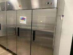 Atosa Reach-In Refrigerator, Made 2018, No. MBF8006 three-section, self-contained refrigeration,