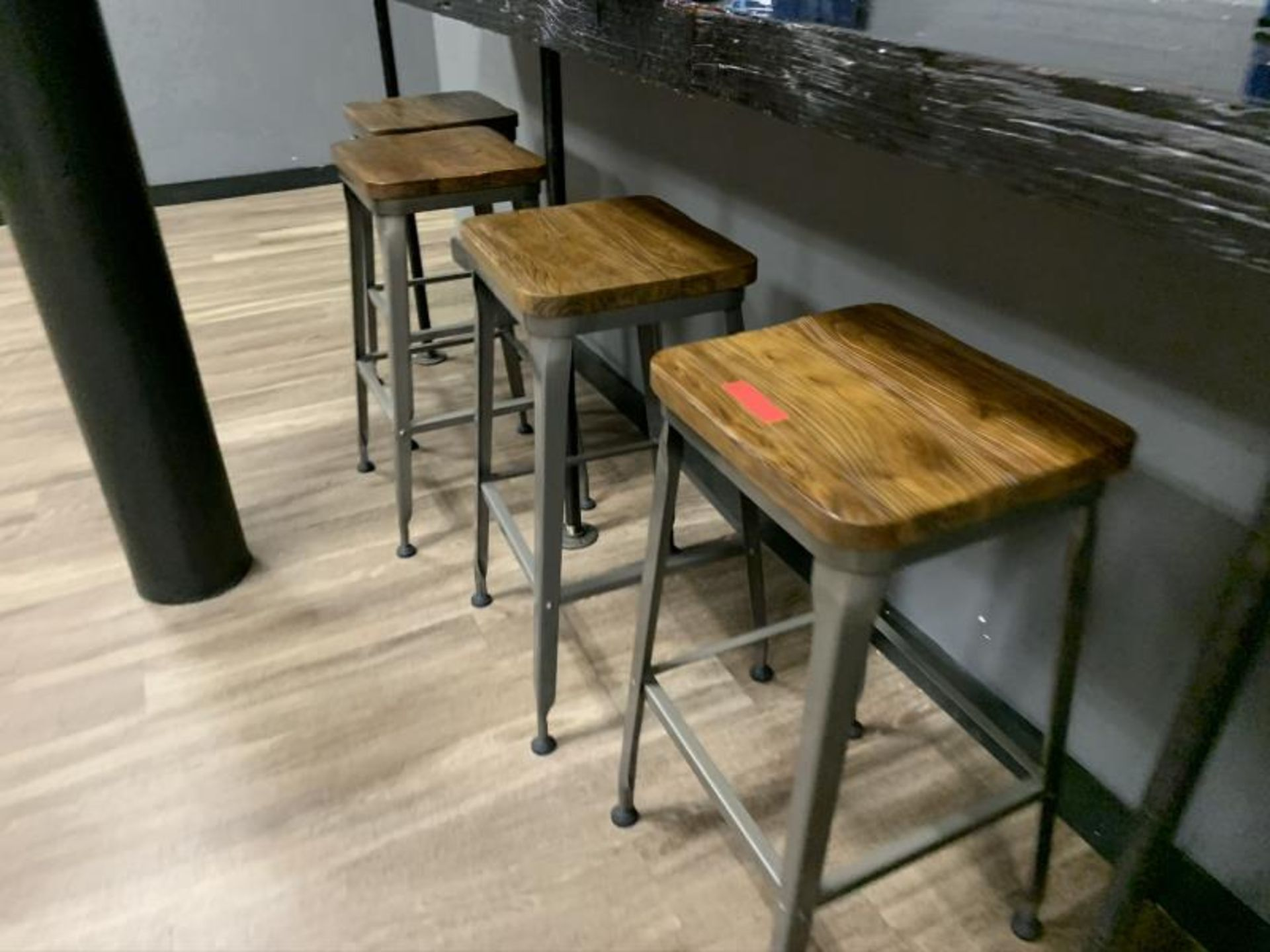 (6) Stools, Metal Base w/ Wood Seat - Image 3 of 3
