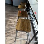 (4) Stools, Metal Base w/ Wood Seat
