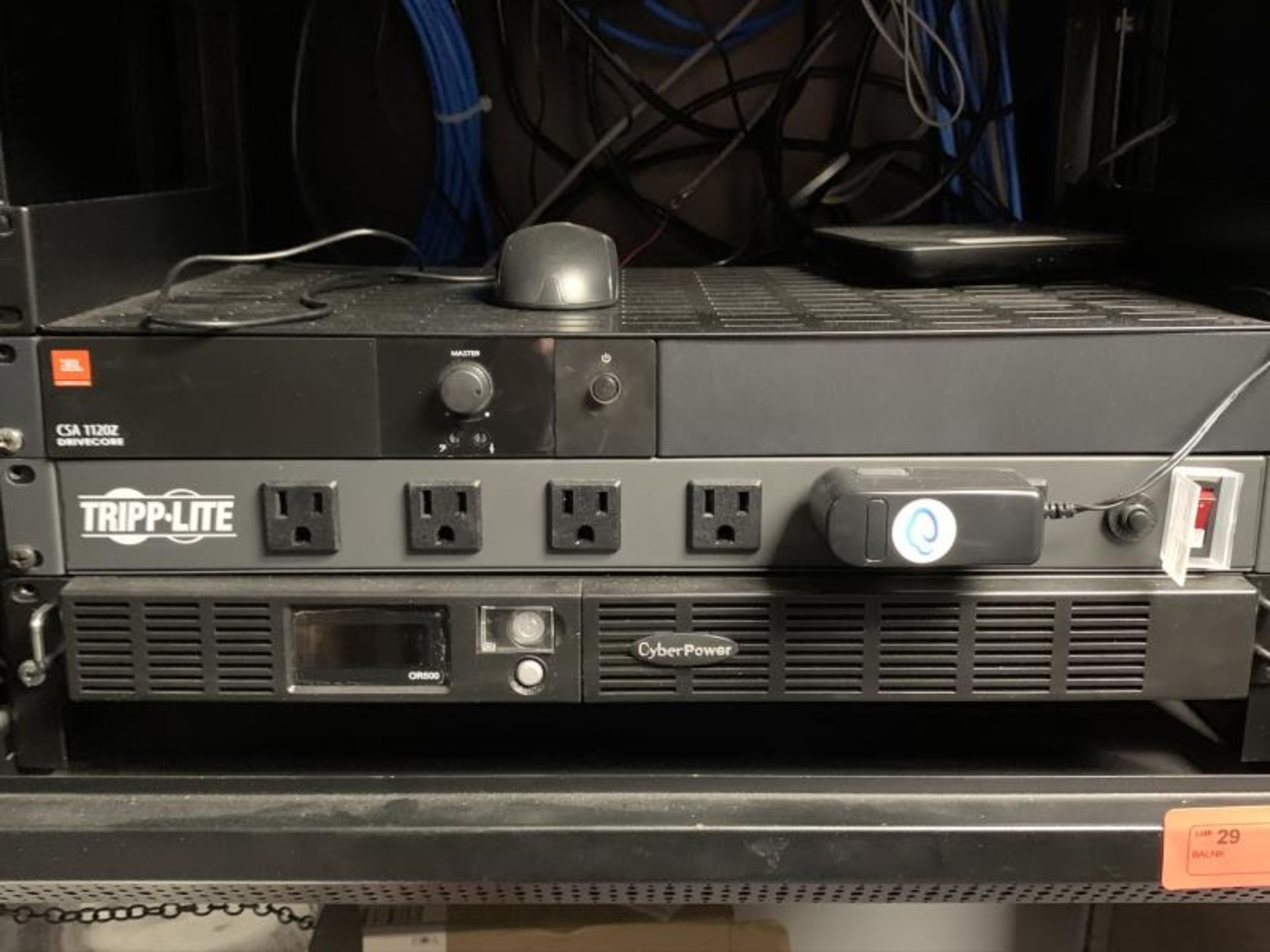 IT Cabinet, Wall Mounted w/ Cyberpower OR500, Tripp-Lite, UBL CSA 1120Z, TP-Link TL-SG1016 16 Port - Image 2 of 3