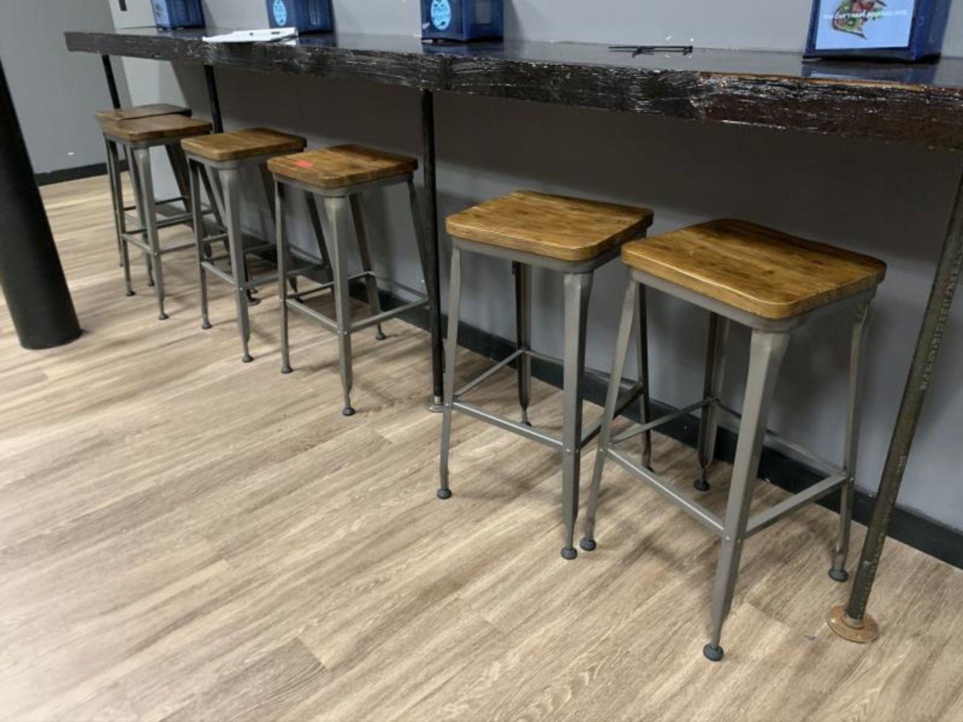 (6) Stools, Metal Base w/ Wood Seat