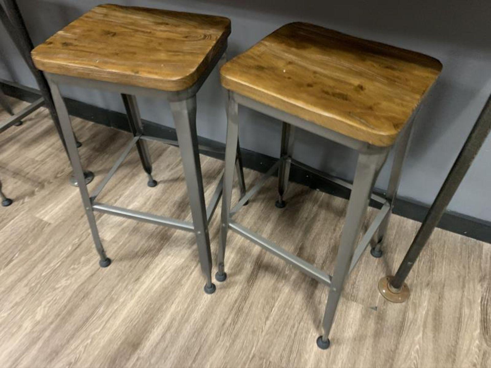 (6) Stools, Metal Base w/ Wood Seat - Image 2 of 3