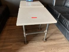 (2) Side Tables w Stone Top, Pipe Base