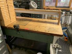Butcher Block table with Craftsman vise & articulating light