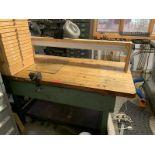 Butcher Block table with Craftsman vise & articulating light