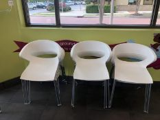 (12) White Plastic / Metal Modern Chairs