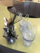 Lot Whisks, Scoops, Can Opener, Etc