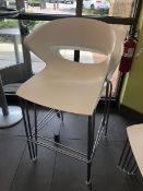 (3) White Plastic / Metal Bar Stools