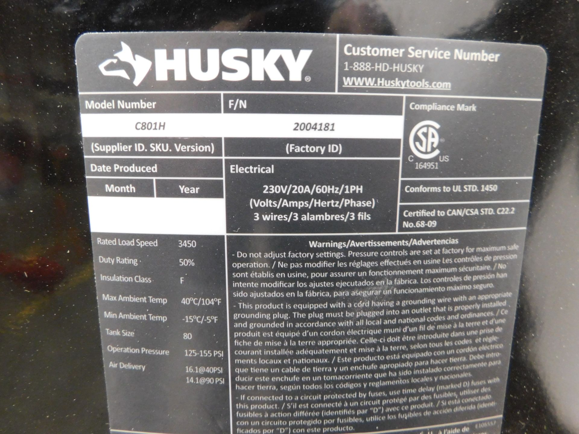 Lot 51 - Husky 4.7 HP Tank-Mounted Vertical Air Compressor, Model C801H, SN 2004181, 80 Gallon Tank, 14