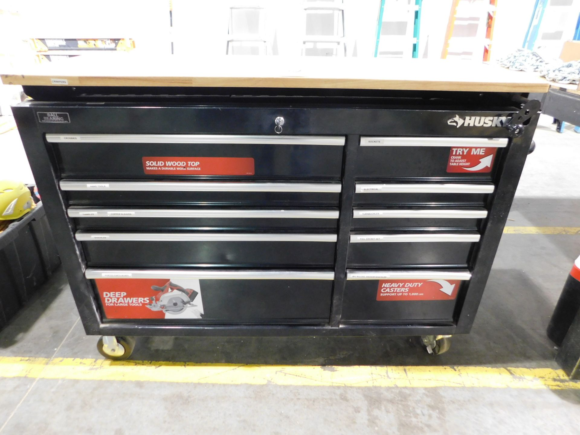 Lot 22 - Husky 10-Drawer Roll-A-Round Tool Cabinet with Adjustable Height Butcher Block Top