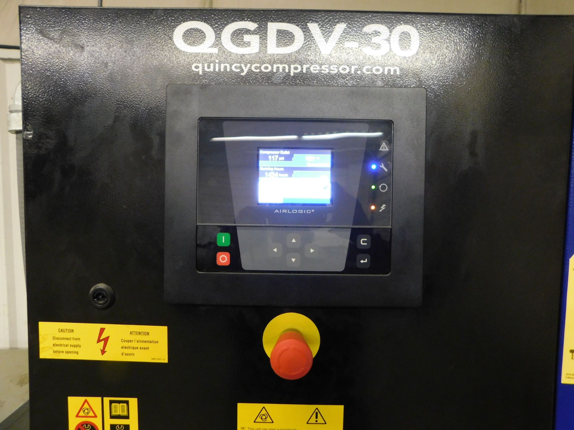 Lot 24 - Quincy Model QGDV-30FF Tank-Mounted Rotary Screw Air Compressor, SN ITJ058394,30 HP, Built-in Air