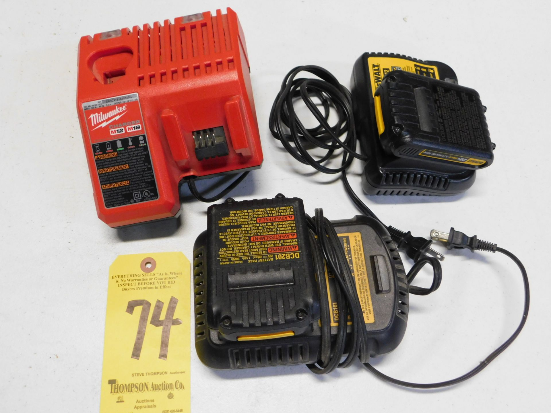 (2) Dewalt 20V Chargers with Batteries and Milwaukee M12/M18 Charger, Lot Location 3204 Olympia