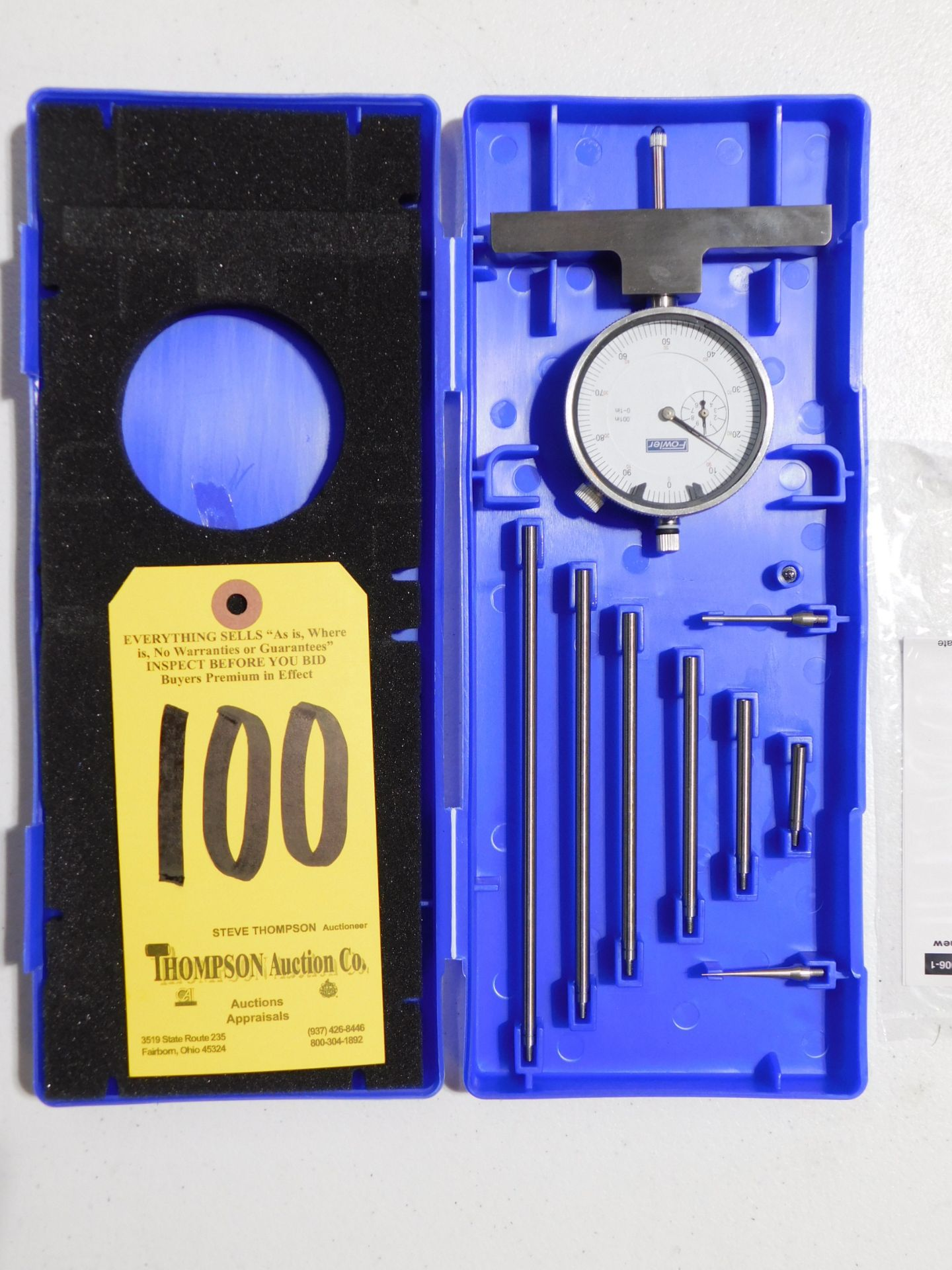 """Lot 100 - Fowler Dial Depth Gage, 0-22"""", Lot Location 3204 Olympia Dr. A, Lafayette, IN 47909"""