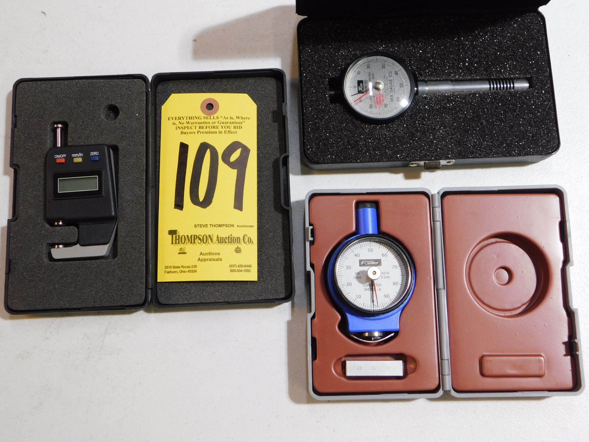 Lot 109 - Caprock Digital Pocket Thickness Gage, Rex Model 1600 Durometer Gage, and Fowler Durometer Gage, Lot