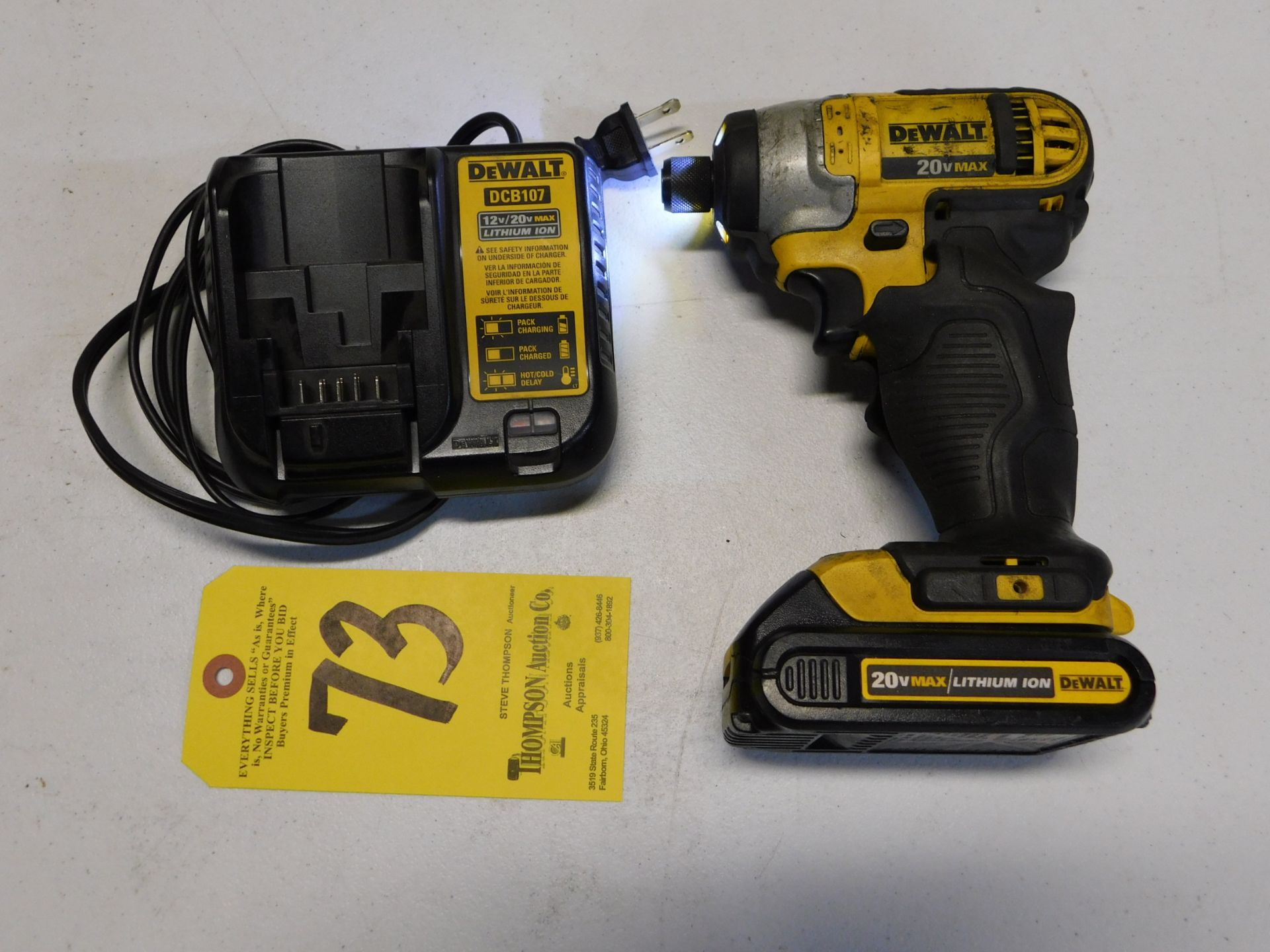 Lot 73 - Dewalt DCF885 Cordless 20V Impact Driver with Battery and Charger, Lot Location 3204 Olympia Dr.