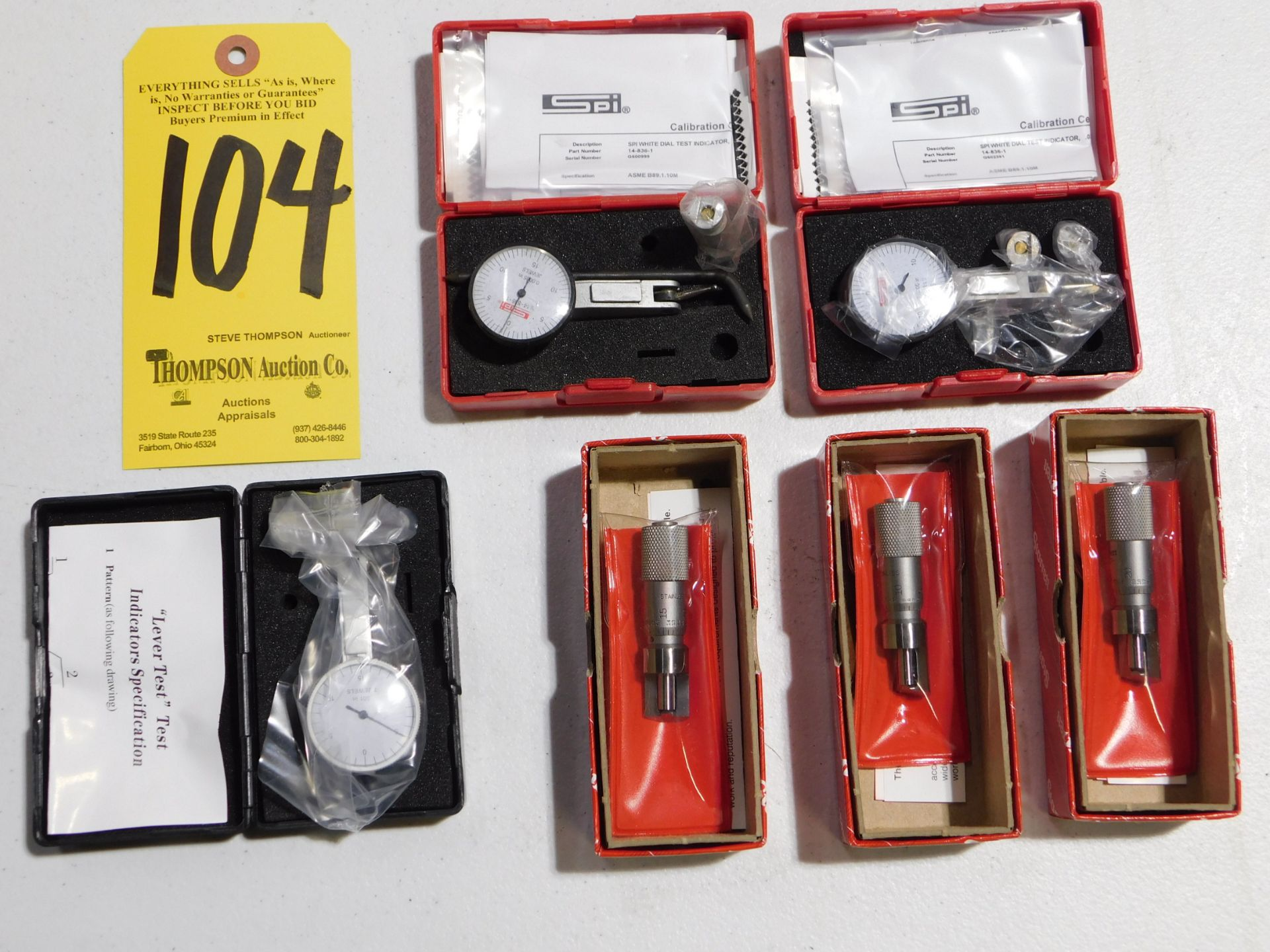 Lot 104 - (3) Dial Indicators, and (3) Starrett 207Z Can Seam Micrometers, Lot Location 3204 Olympia Dr. A,